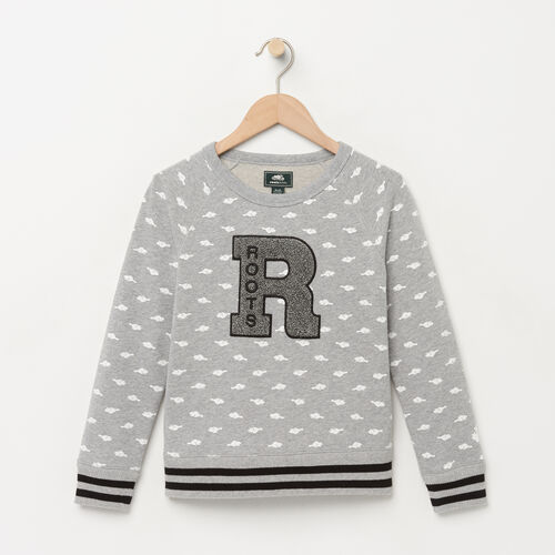 Roots-Kids Girls-Girls Alumni Crew-Grey Mix-A