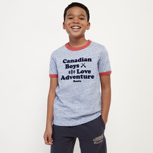 Roots-Kids New Arrivals-Boys Love Adventure T-shirt-True Navy Mix-A
