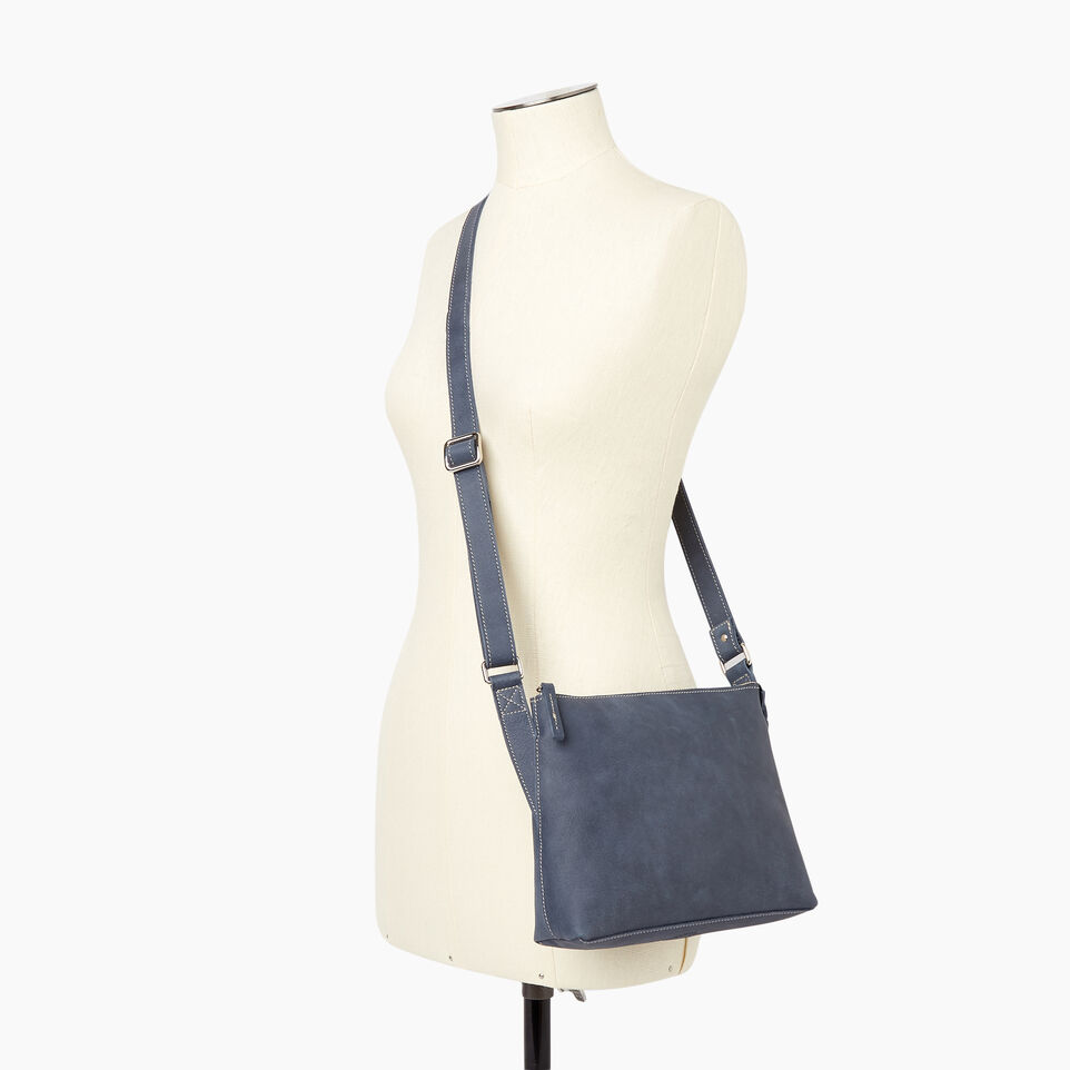 Roots-Leather New Arrivals-Journey Crossbody Tribe-Navy-B