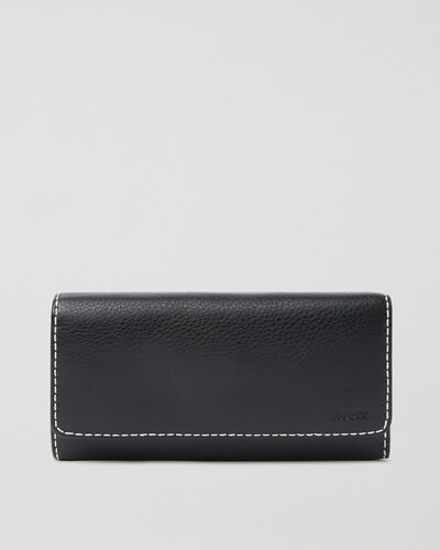 Roots-Leather Wallets-Large Chequebook Clutch Prince-Black-A