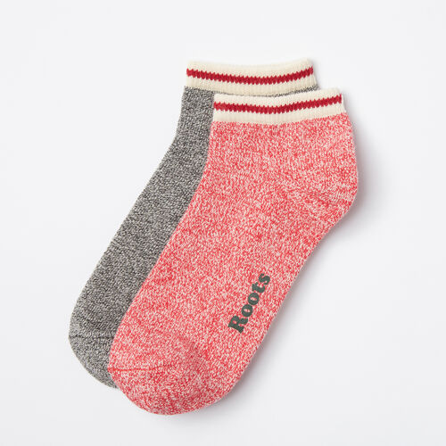 Roots-Women Socks-Womens Cabin Ped Sock 2 Pack-Racing Red-A