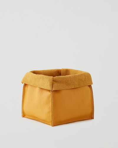Roots-Leather Leather Accessories-Large Leather Basket Cervino-Sunflower-A