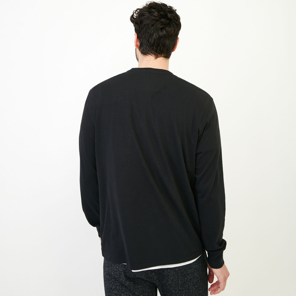 Roots-Men New Arrivals-Essential Pocket Longsleeve T-shirt-Black-D