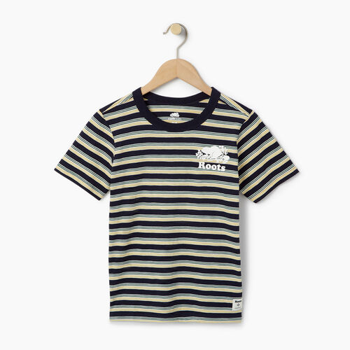 Roots-Clearance Kids-Boys Cooper Stripe T-shirt-Navy Blazer-A