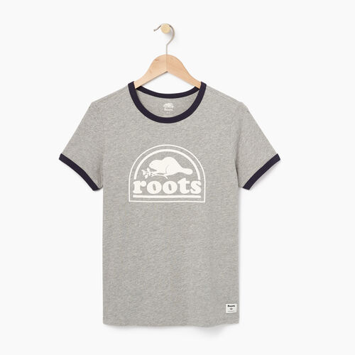 Roots-Sale Women-Womens Roots Vault Ringer T-shirt-Grey Mix-A