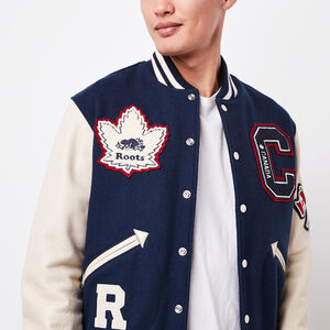Roots-Leather Award Jackets-Mens Gretzky Jacket Navigator-Navy-A