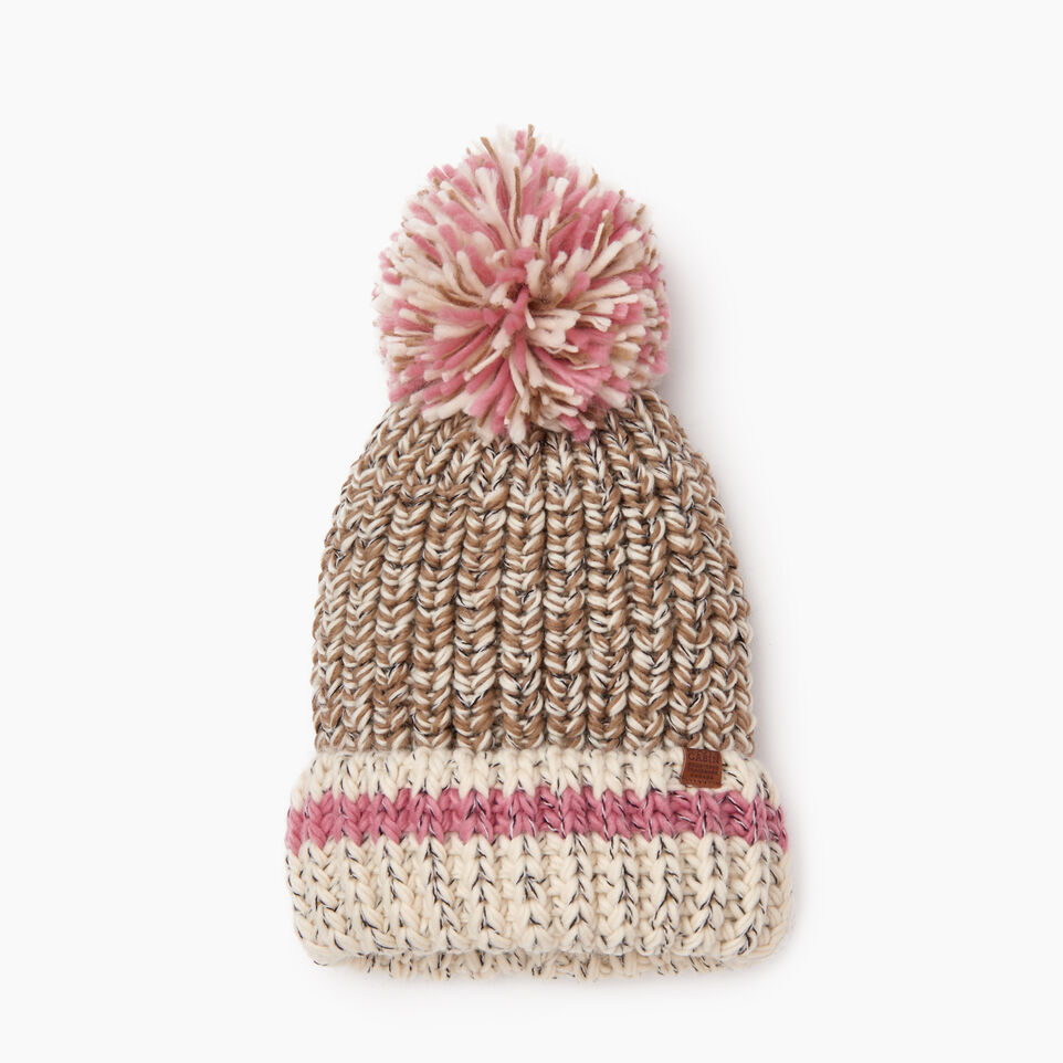 Roots-Women Hats-Chunky Cabin Pom Pom Toque-Fawn Taupe Mix-B