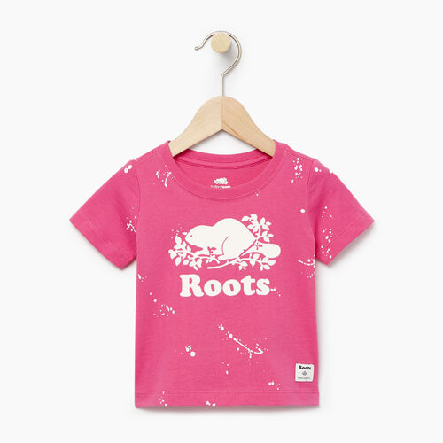 Roots-Clearance Baby-Baby Splatter Aop T-shirt-Raspberry Rose-A