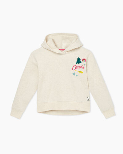 Roots-Kids Tops-Girl Outdoors Hoody-Birch White Mix-A