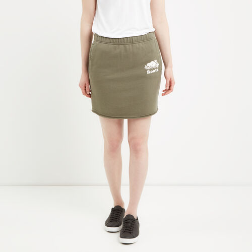 Roots-Clearance Women-Original Sweatskirt-Dusty Olive-A