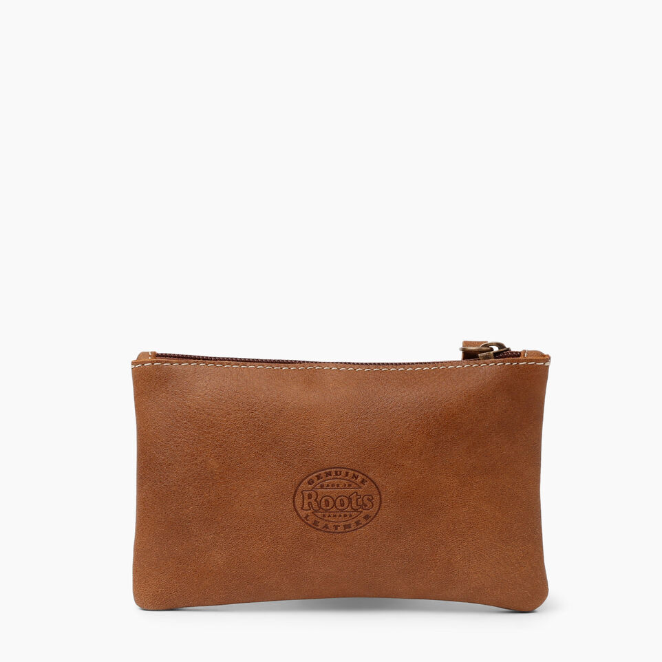 Roots-Women Leather Accessories-Medium Zip Pouch-Natural-C
