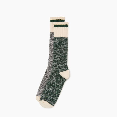 Roots-Men Categories-Cotton Cabin Sock 2 pack-Park Green-A