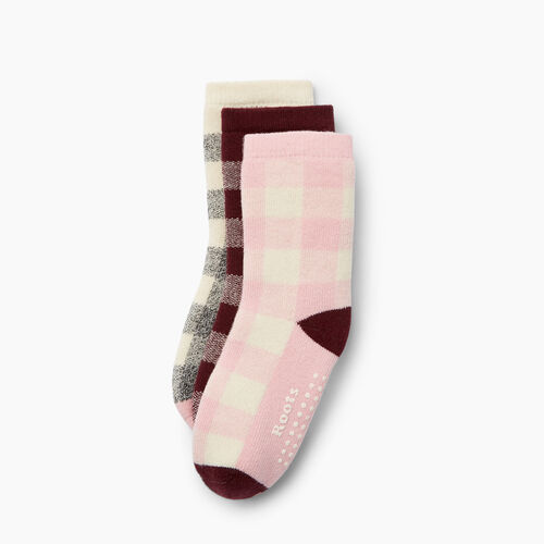 Roots-Kids Toddler Boys-Toddler Plaid Sock 3 Pack-Pink-A