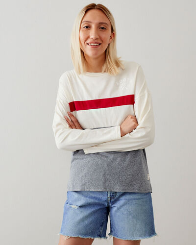 Roots-New For This Month Women-Cabin Colour Block Long Sleeve Top-Light Salt & Pepper-A