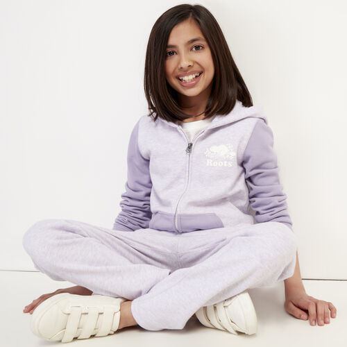 Roots-Kids Girls-Girls Original Full Zip Hoody-Wisteria Mix-A