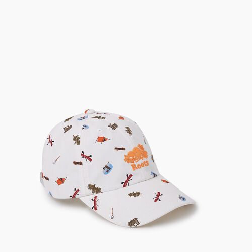 Roots-Men New Arrivals-Camp Aop Baseball Cap-Egret-A