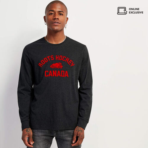 Roots-Sale Tops-Mens Canadian Hockey Long Sleeve T-shirt-Black Mix-A