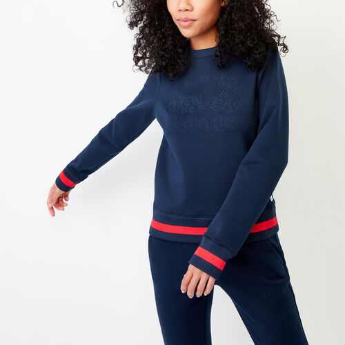 Roots-Winter Sale Women-Mahone Crew Sweatshirt-Navy Blazer-A