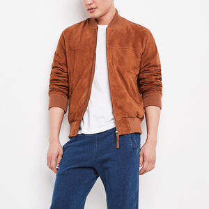 Roots-Men Leather Jackets-Blouson Jacket Suede-Tan-A