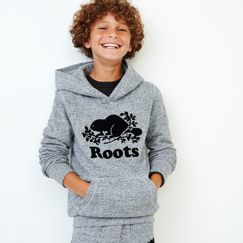 Roots-Kids Sweats-Boys Original Kanga Hoody-Salt & Pepper-A