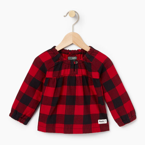 Roots-New For October Kids-Baby Park Plaid Shirt-Lodge Red-A