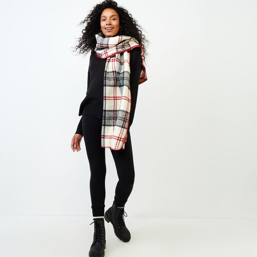 Roots-Women Categories-Smoke Lake Plaid Blanket Scarf-Birch White-A