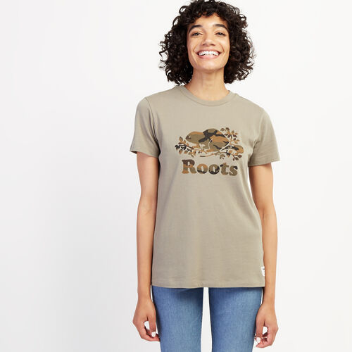 Roots-Women Graphic T-shirts-Womens Camo Beaver T-shirt-Vetiver-A