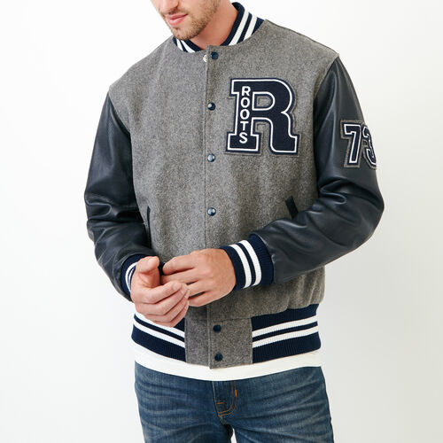 Roots-Leather  Handcrafted By Us Award Jackets-Vintage Award Jacket-Dk Blue Grey-A