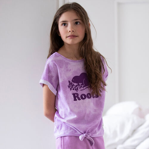 Roots-Kids New Arrivals-Girls Tie T-shirt-African Violet-A
