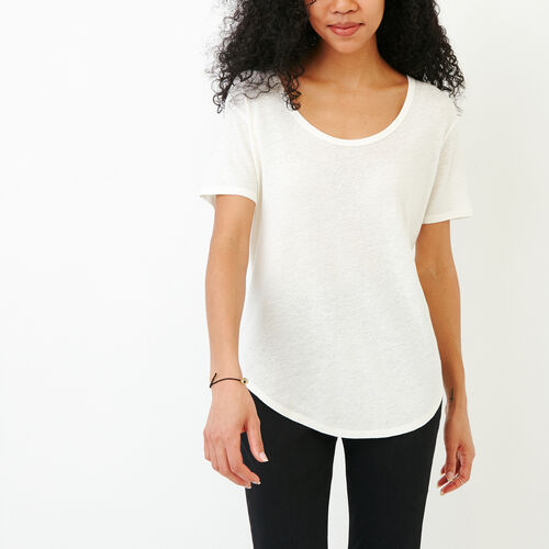 Roots-Clearance Tops-Valetta Scoop Neck Top-Ivory-A