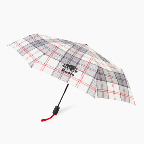 Roots-New For November General Store-Smoke Lake Plaid Umbrella-Birch White-A