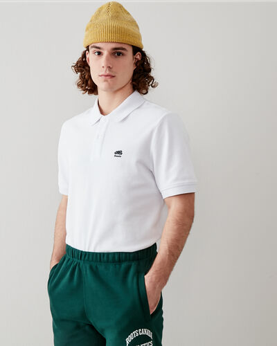 Roots-Men Clothing-Heritage Pique Polo-White-A