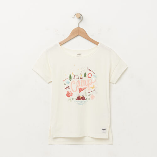 Roots-Kids New Arrivals-Girls Boxy Text T-shirt-Pristine White-A