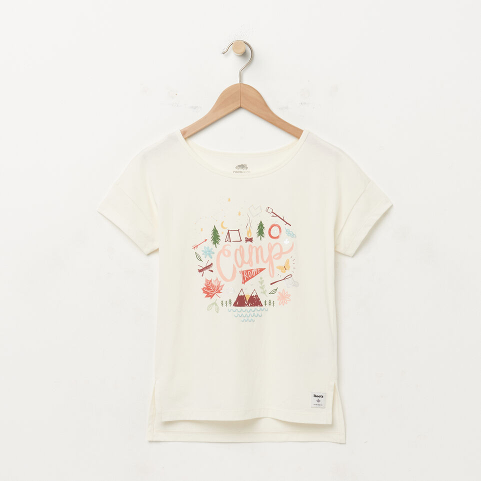 Roots-undefined-Girls Boxy Text T-shirt-undefined-A