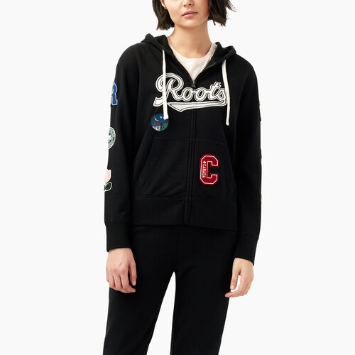 Roots-Women Sweats-Varsity Patches Full Zip Hoody-Black-A