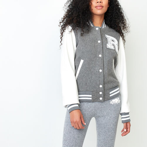 Roots-Leather Women's Award Jackets-Vintage Award Jacket-Grey-A