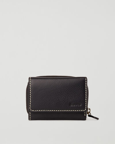 Roots-Leather Wallets-Small Trifold Clutch Prince-Black-A