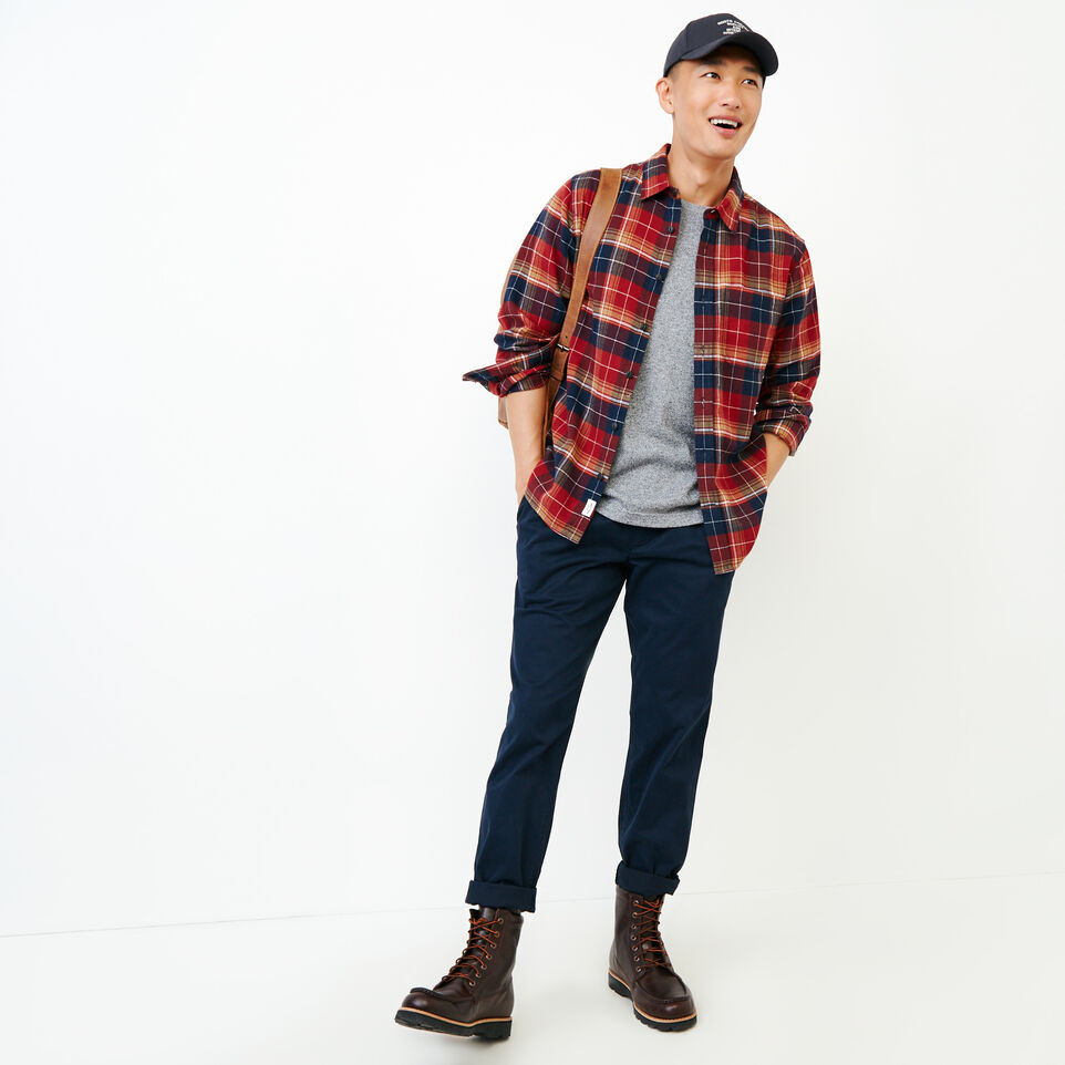 Roots-Men New Arrivals-Rivers Flannel Shirt-Sundried Tomato-B