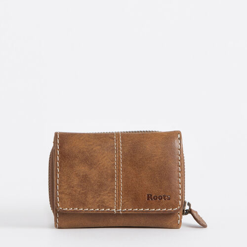 Roots-Leather Wallets-Small Trifold Clutch-Natural-A