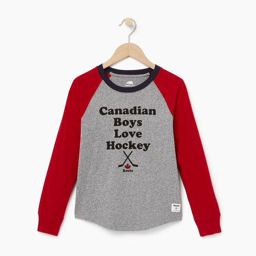 Roots-Kids Our Favourite New Arrivals-Boys I Love Hockey T-shirt-Salt & Pepper-A