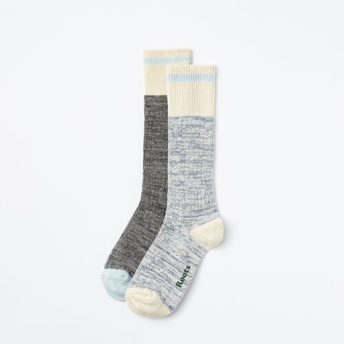 Roots-Women Socks-Cotton Cabin Sock 2 Pack-Chambray Blue-A