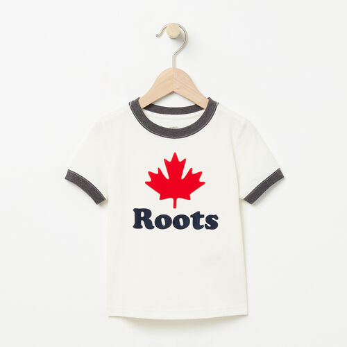 Roots-Kids T-shirts-Toddler Maple Ringer T-shirt-Pristine White-A