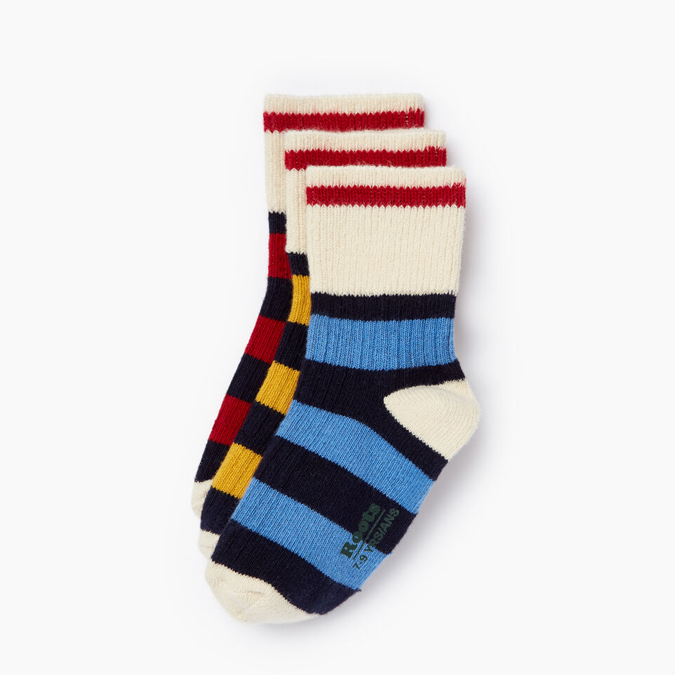 Roots-undefined-Kids Rugby Ankle Sock 3 Pack-undefined-B