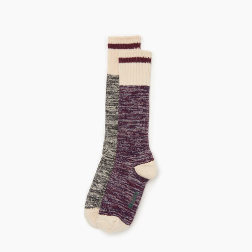 Roots-Women Categories-Cotton Cabin Sock 2 pack-Purple-A
