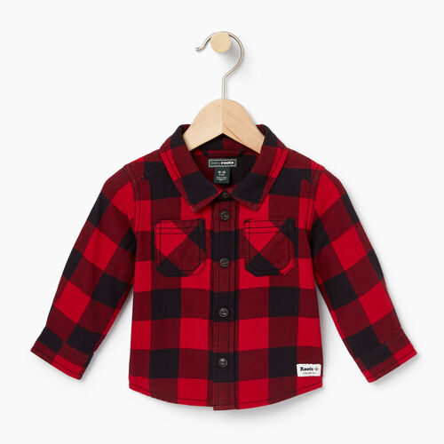 Roots-Kids Baby Boy-Baby Park Plaid Shirt-Lodge Red-A