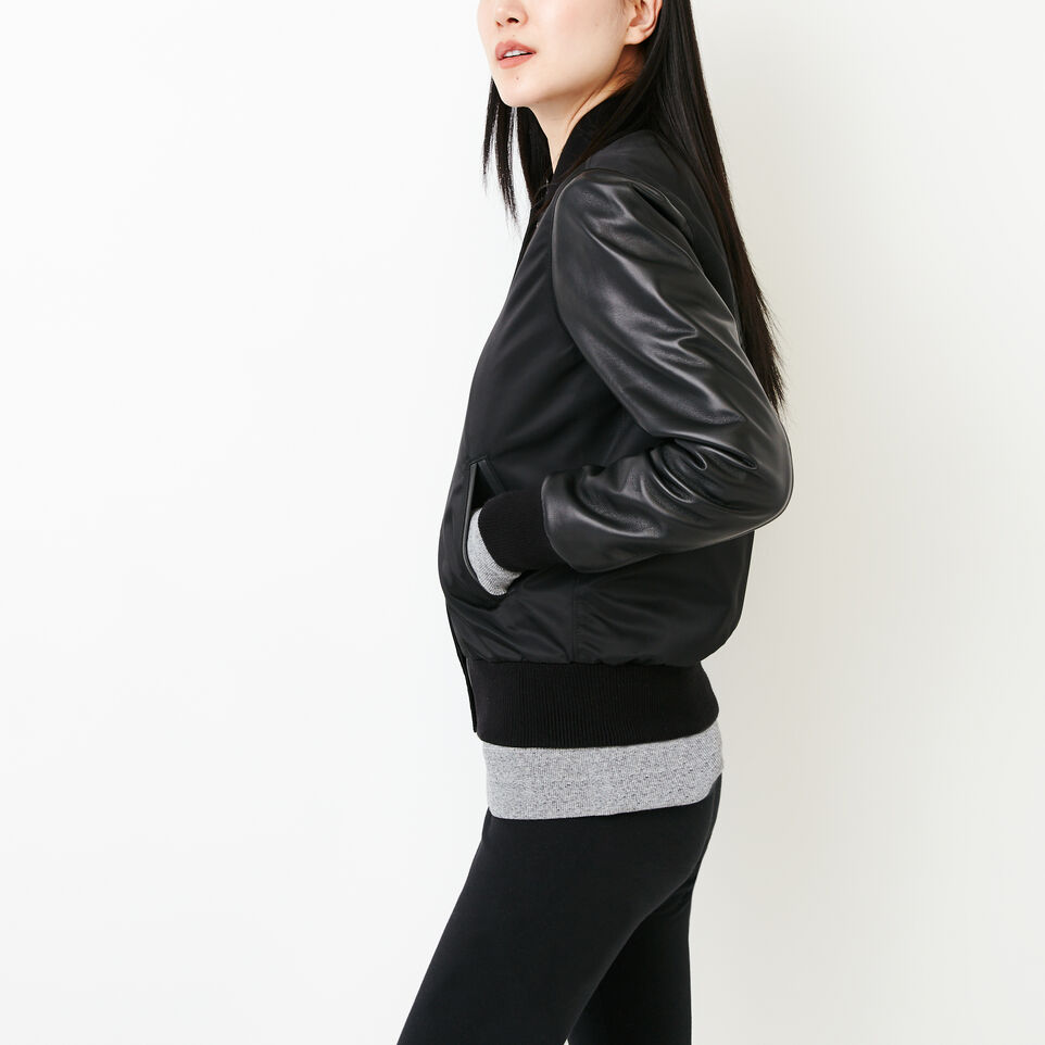 Roots-Leather Categories-Retro Varsity Jacket-Black-C