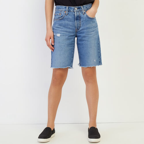 Roots-Women Shorts & Skirts-Levi's 501 Knee Length Short-Med Denim Blue-A