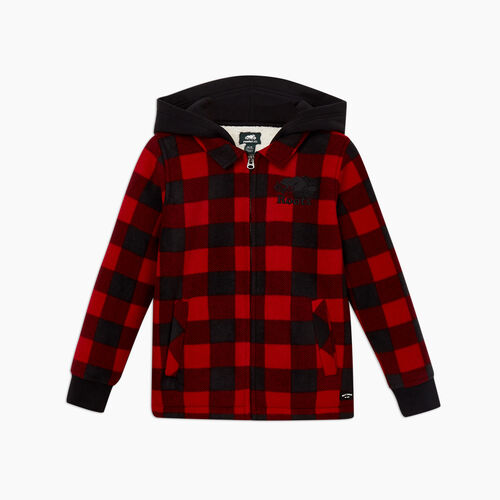 Roots-Sweats Boys-Boys Sherpa Coaches Jacket-Cabin Red-B