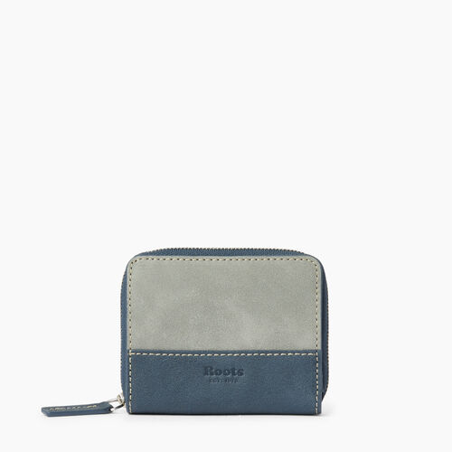 Roots-Leather  Handcrafted By Us Wallets-Small Zip Wallet-Quartz/navy-A
