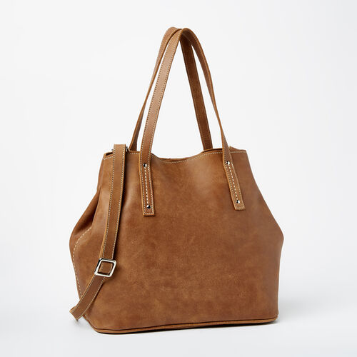 Roots-Leather Tribe Leather-Amelia Tote Tribe-Natural-A